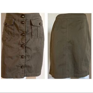 Boston Proper Army Olive Green Button Skirt 10